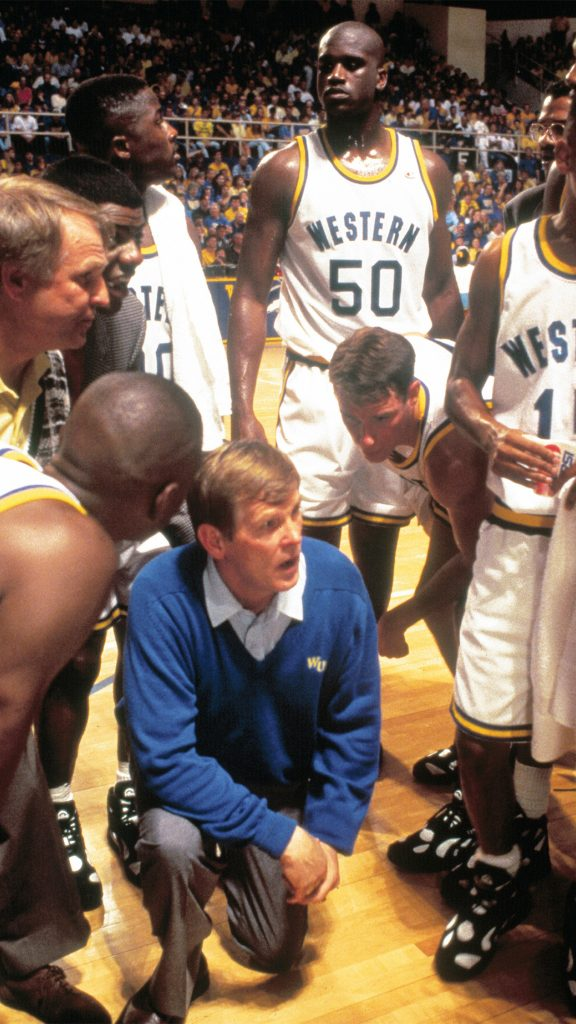 """Nick Nolte stars as volatile collegiate coach Pete Bell in """"Blue Chips."""" Recognize #50? He is Shaquille O'Neal the team's star center - Neon."""