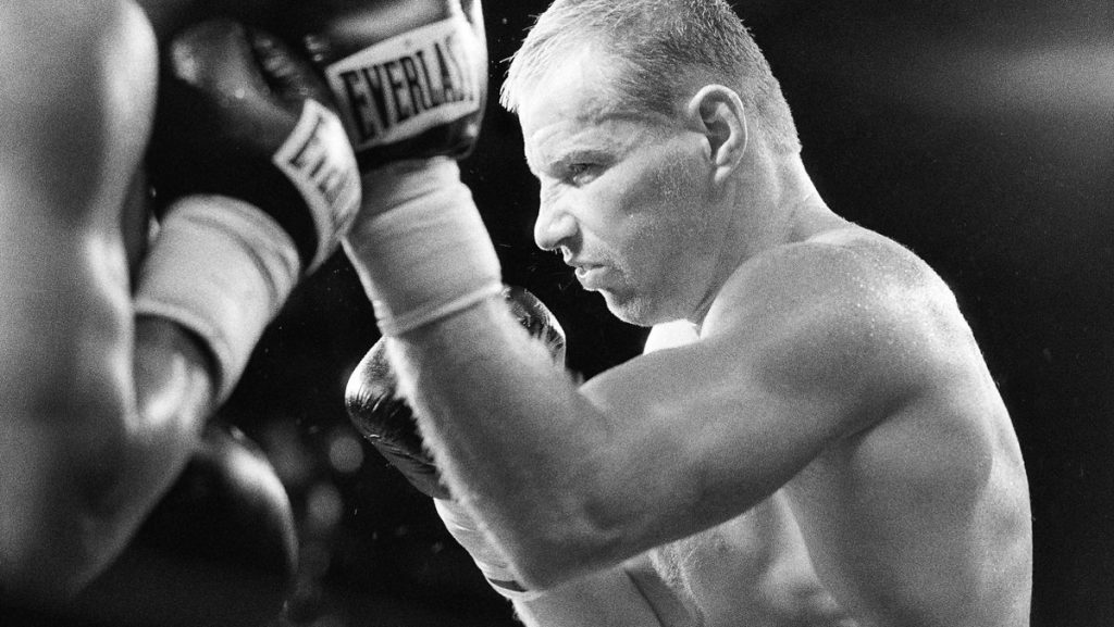 'Irish' Micky Ward throws an uppercut to the face of Emanuel Augustus in their epic battle that earned them fight of the year. Ward threw a record 1182 punches during this one fight.